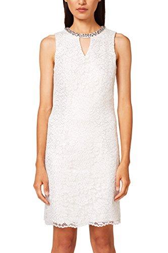 ESPRIT Collection Damen Partykleid 038EO1E027, Weiß (Off White 110), 34