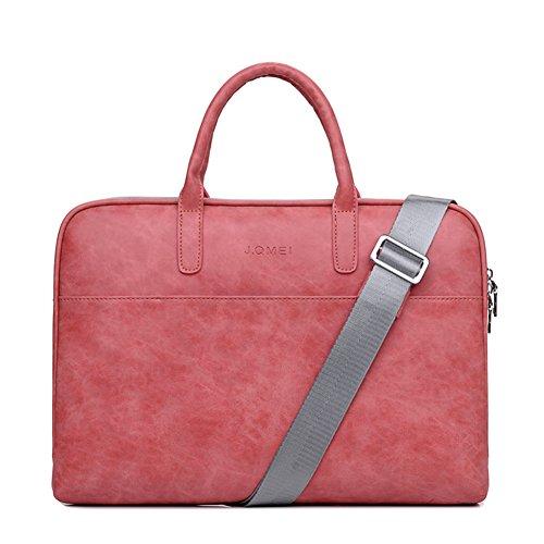 14-15 Zoll Handgefertigt Kunstleder Messenger Bag für Männer Frauen Vintage Leder Business Aktentasche für Laptops und Bücher Lila