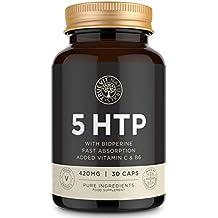 Serotonina 5HTP Suplemento de Alta Potencia para el Cerebro de Acción Rápida con Bioperina, Vitamina