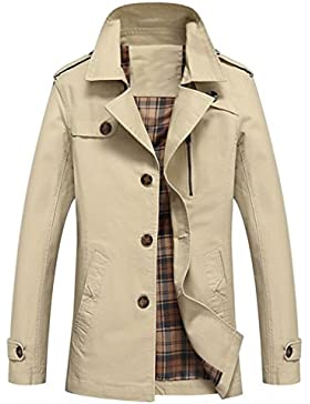 Feicuan Uomo Cappotto cotone Trench Giacca a Vento Single Breasted Slim Fit  Casual Autunno inverno 2af03531870