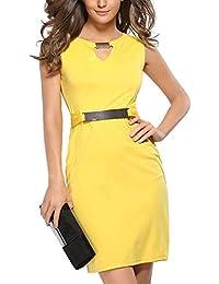 Ouguan® Femmes Robe Crayon Col V Ajourée Tailleur Robe de Bureau 51ad4332544