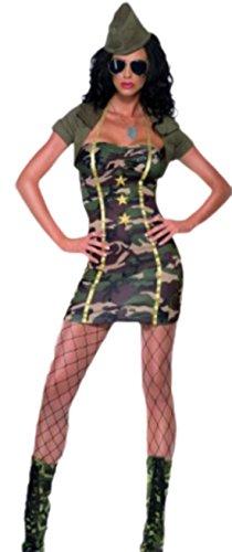 Karnevalsbud - Damen Army Major Camouflage Look Kostüm, S, Grün (Sexy Army Major Kostüme)