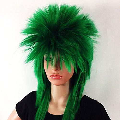 80er Jahre Metal Kostüm - GYJ 2PCS Hair Cap, Heavy Metal Halloween 70er 80er Jahre Kostüme für Männer Frauen Perücken Spiked Rocker Perücke Mullet Style, Cosplay Kostümparty, verstellbare Träger