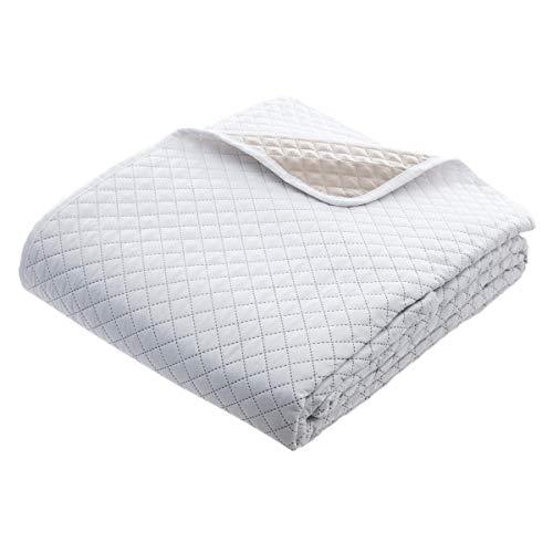 Set aus wattierter Tagesdecke mit 2 passenden Kissenbezügen - weich und gemütlich - große Größe - zweifarbig ( Weiß / Beige)