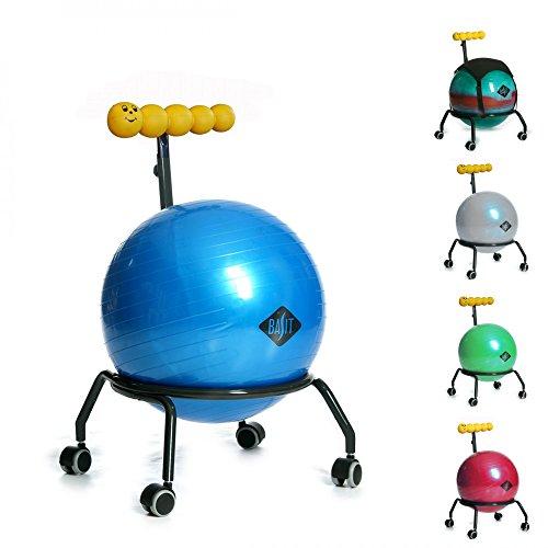 BASIT® Kids Kinderstuhl Gesundheitsstuhl Drehstuhl + Gymnastikball Sitzballstuhl Ballstuhl für Kinder, mit Rollen + 1x schwarzes Sitzkissen