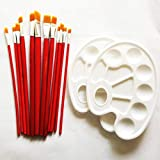 Red Simi 12 Pieces Paint Nylon Brushes Set with 2 Palettes for Watercolor