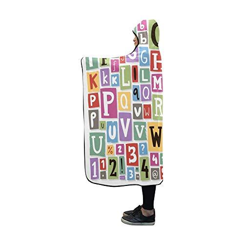JOCHUAN Mit Kapuze Decke Bunte Alphabet Buchstaben gemacht Zeitung Decke 60 x 50 Zoll Comfotable Hooded Throw Wrap -