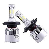 مصابيح ليد اتش 4 امامية للسيارة من بيونير، مع لمبات ضوء سي او بي بلون ابيض 8000 لومن 6000 كلفن