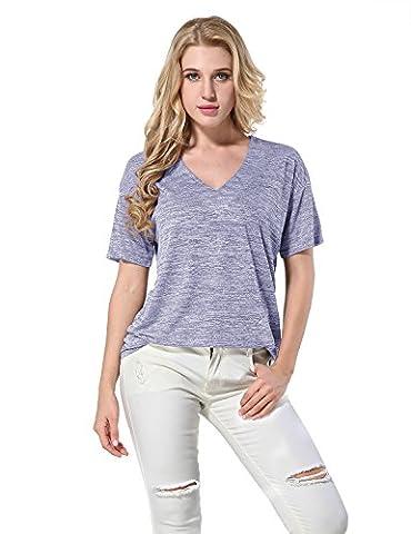 Yidarton Tee Shirt Femme Manche Courte Casual Été Col V Mode Top Blouse Haut Grande Taille (L, Gris)