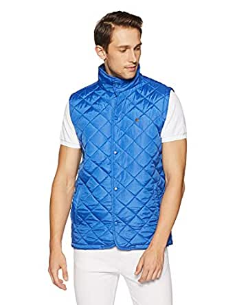 Peter England Men's Jacket (EJK51407086Msleeveless_Dark Blue)