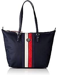 Tommy Hilfiger Damen Poppy Tote Corp Stripe Shopper, Blau (Navy/Core Stripe), 14 x 32 x 47 cm