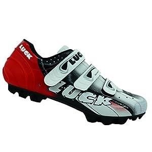 Zapatillas de Ciclismo LUCK Extreme 3.0 MTB,con Suela de Carbono y Triple Tira de Velcro de sujeción ademas de Puntera de Refuerzo. (38 EU, Rojo)