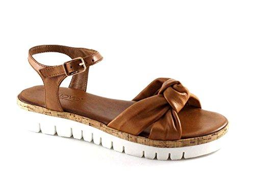 INUOVO 7934 coconut cuoio sandali donna platform incrocio nodo fibbia Marrone