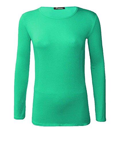 NEUF femmes ras de cou simple uni manches longues T-shirt haut 15 couleurs grande taille UK 8-24 Vert jade