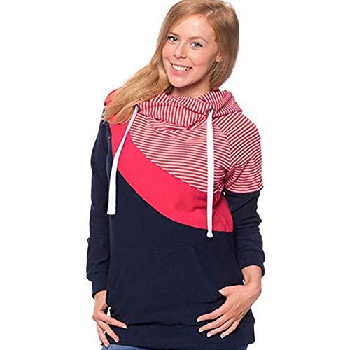 Beiersi Damen Stillshirt Umstandsmode Kapuzenpullover Schwanger T-Shirt Umstandsshirt Stilltop Stillpulli Umstandstop Schwangere Sweatshirts Langarmshirt Hoodie (XL, Rot)