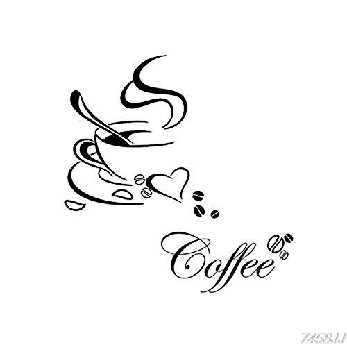 EmmiJules Wandtattoo Kaffee Küche Coffee Wohnzimmer Küche Cappucino Cafe Wandsticker Wandaufkleber Kaffeetasse Kaffeebohnen Kaffeewandtattoo Esszimmer Restaurant
