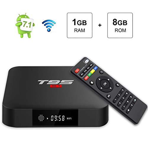 Android 7.1 TV Box, T95 S1 Android TV Box Amlogic S905W Quad Core 1GB / 8GB mit digitalem HDMI Ultra HD 4K Ethernet 2,4 GHz Wifi H.265 Decoder Video
