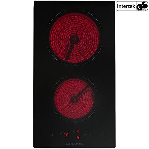 Arebos Glaskeramikkochfeld 2 Zonen (Sensor-Touch-Display, Autark, 9 Temperaturstufen, integrierter Timer, Einbaumaße: 26,8 x 50 cm)