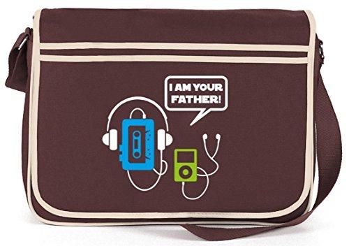 Shirtstreet24, I Am Your Father! Vater Retro Messenger Bag Kuriertasche Umhängetasche Braun