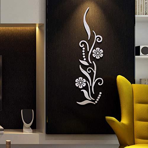 QHJ Aufkleber,Blumen Badezimmer Acryl Gespiegelt Dekorative Aufkleber Wand Kunst Spiegel Secor Room Reflektierender Schalteraufkleber des Spiegels 3D