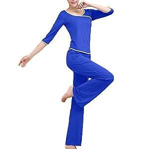 ShiFan Bequem Damen 2Pcs Yoga Anzug Casual Outfit Sportanzug Tops + Hose