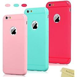 3x Funda iPhone 6, iPhone 6s Carcasa Silicona Gel - Mavis's Diary Mate Case Ultra Delgado TPU Goma Flexible Funda iPhone 6s - Rojo, Rosa claro, Verde menta