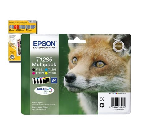 Epson Multipack pour Stylus S22 SX125 SX130 SX230 SX235W SX420W SX425W SX430W SX435W SX440W SX445W / Stylus Office BX305F BX305FW BX305FW Plus - Cartouches d'encre d'origine - T1281 T1282 T1283 T1284 T1285 + Premium Glossy Photo Papier - 4x6 - 20 feuilles