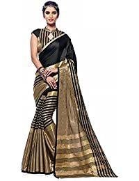 Dharmi Enterprise Black And Gold Cotton Silk With Blouse Piece Women's Saree (saree New Collection, Saree New...