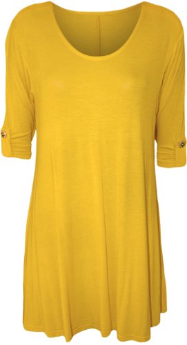 womens-plus-size-scoop-neck-short-sleeve-flared-ladies-long-plain-top-bright-yellow-18