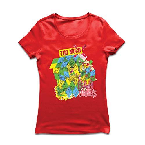 lepni.me Frauen T-Shirt Zu viel schlechte Sachen sarkastischer Humor (Small Rot Mehrfarben) -