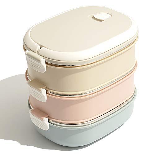 Ihomepark Edelstahl Bento Box Vesperbox für Kinder und Erwachsene Lunchbox Brotdose mit Klippverschluss - BPA FREI -Auslaufsicher Multi-Layer-Design