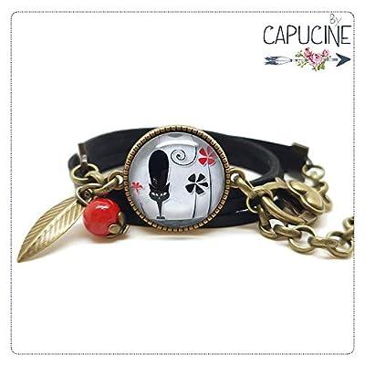 Bracelet 3 Tours Chat et Fleurs Noir, Gris et Rougeavec Cabochon Verre, Breloque et Perle en Jade, Métal Bronze, Simili Cuir, Ajustable