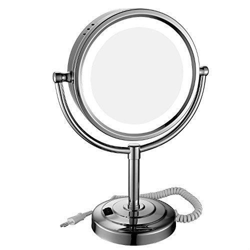 GuRun Kosmetikspiegel mit LED Beleuchtung Standspiegel 10 fach, 3 Lichtfarben,Durchmesser 20cm,M2208D(8.5in,10x)