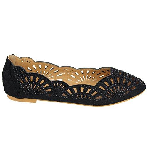 Femmes Dames Tous les jours Ballerine ballet Confort Chariot Pompe Décontractée Appartements Diamante Soir Chaussures Taille Noir