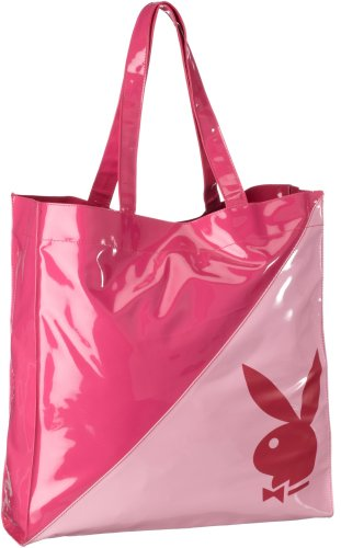 Playboy Gift Collection Large PATENT Tote Bag PINK PA7531-PNK, Damen Tote, pink, (pnk), 37,5x36x9,5