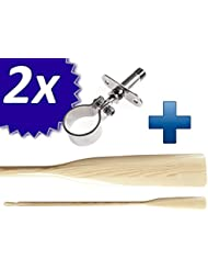 1 Paar (2 Stuck) Ruder /Riemen mit Ruderdollen - Holz und Edelstahl (2 Ruder +2 Ruderlager) - 180/195/210/225/240cm