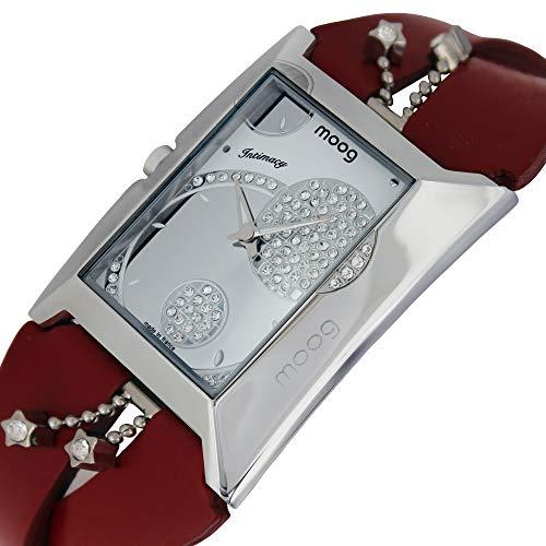 Moog Paris Intimacy Montre Femme avec Cadran Blanc, Eléments Swarovski, Bracelet Rouge en Cuir Véritable - M44952-009