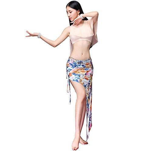 Frau Bauch tanzen trainieren Tops Lange Rock Set modern Kleider Performance kostüm 4 ()