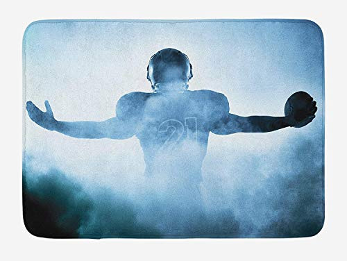 TKMSH Sport Bath Mat, Heroic Shaped Rugby Player Silhouette Shadow Standing in Fog Playground Global Sports Photo, Plush Bathroom Decor Mat with Non Slip Backing, Blue,15.7X23.6 inch/40 * 60cm -