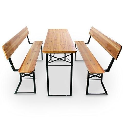 Miadomodo 3-Pc Wooden Trestle Beer Table & Bench Set Folding Outdoor Garden Party Furniture