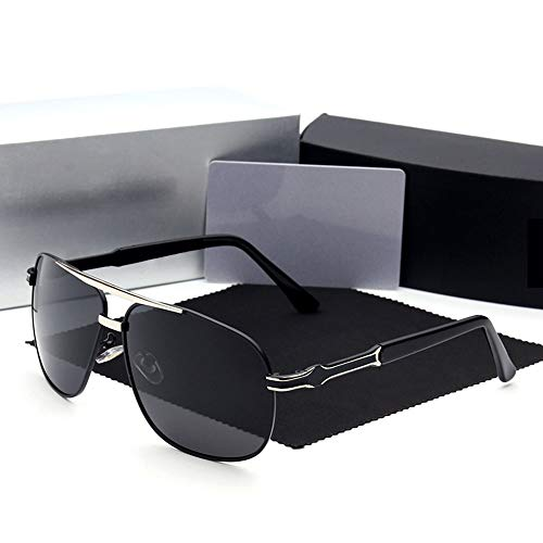 Herrenmode Casual Large Frame Polarized Sonnenbrillen, Mercedes-Benz Sonnenbrillen. Brille (Farbe : Schwarzes Silber)