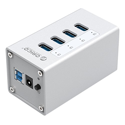 ORICO Aluminium USB Hub (USB 3.0, 4 Ports, Silber) Datenhub mit 12V 2A Netzteil - High-End, Highspeed - für Desktop-PC Computer Notebook MacBook iMac (Zwei-port Aluminium Usb-hub)