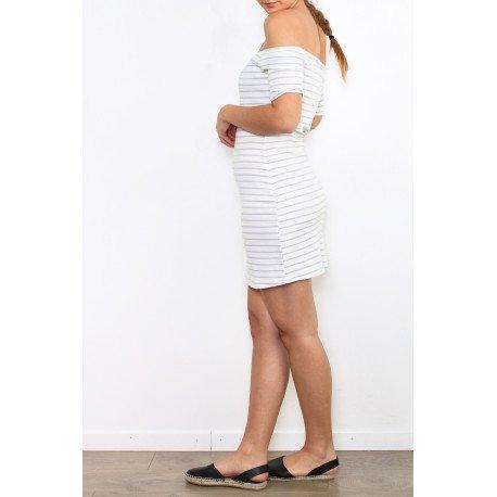 Ideal Shoes - Robe marinière côtelé Alexiane Gris