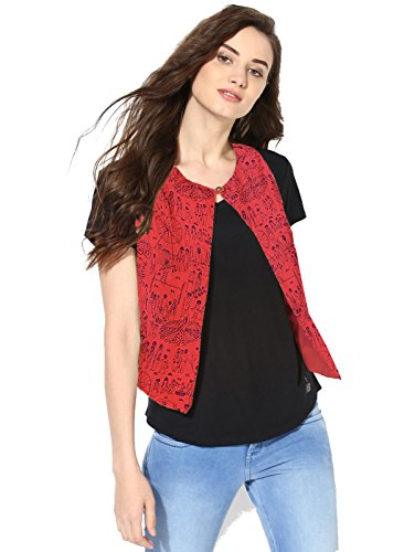 Funk For Hire Women Mela Printed Red Cotton Silk Jacket Medium Size