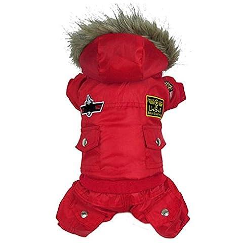 alkyoneus klein Large Pet Hund Winter Overall Warm Kleidung Track Suit Puppy Kapuzenjacke (Paw Pet Carrier)