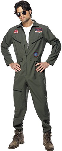 KULTFAKTOR GmbH Top Gun Jetpilot Kostüm Lizenzware Khaki ()