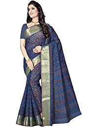 Rani Saahiba Women's Poly Cotton Saree With Blouse Piece (Skr3294, Blue, Free Size)