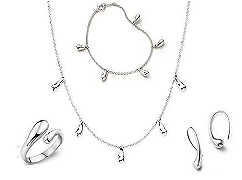 aosilver Jewelry Bague en Ensembles Collier Bracelet Boucles d'oreilles pendantes en Argent 925