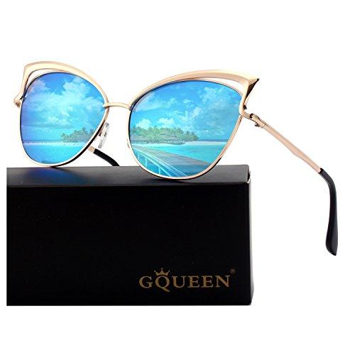 GQUEEN Mode Polarisierte übergroße Katzenaugen CatEye Sonnenbrille Damen Frau Gespiegelte Verspiegelt Linse Metallrahmen Cat Eye Sunglasses MT3