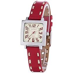 Tokyobay T205-RD Damen Edelstahl rote schlanke Lederband weißes Zifferblatt Watch